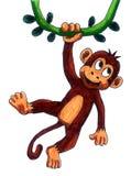 Счастливая обезьяна на лозе иллюстрация штока