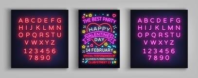 Счастливая партия плаката дня ` s валентинки Неоновое оформление шаблона дизайна, неоновая вывеска, яркое знамя, ночной клуб ночн Иллюстрация штока
