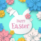 Счастливая пасха, бумажная рамка формы зайчика кролика 3d с бумажным отрезком eps 10 иллюстрация вектора