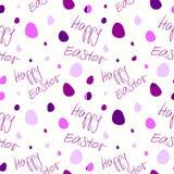 Счастливая пасха - комплект 4 безшовных картин предпосылки вектора Фиолетовые тоны на белизне Стоковое Изображение
