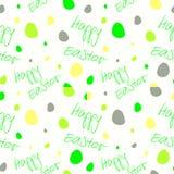 Счастливая пасха - комплект 4 безшовных картин предпосылки вектора Желтый цвет зеленого цвета на белизне Стоковые Фотографии RF