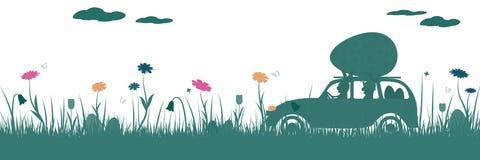 Счастливая пасха - кролики в автомобиле Стоковое Изображение