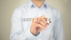 Счастливая пасха, сочинительство человека на прозрачном экране Стоковые Фотографии RF