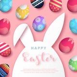 Счастливая пасха, с бумажной рамкой eps 10 формы зайчика кролика иллюстрация штока