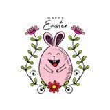 Счастливая пасха с милым кроликом бесплатная иллюстрация