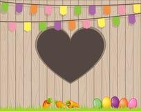 Счастливая пасха с яичками и морковами на траве - загородке с отверстием формы шестка с флагами иллюстрация вектора