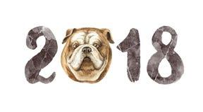Счастливая поздравительная открытка акварели вектора Нового Года 2018 на белой предпосылке Стоковое Изображение