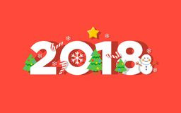 Счастливая поздравительная открытка вектора Нового Года 2018 Стоковое Фото