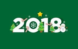 Счастливая поздравительная открытка вектора Нового Года 2018 Стоковые Изображения
