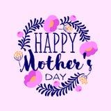 Счастливая поздравительная открытка дня матерей с элегантными литерностью и пионом Стоковое фото RF