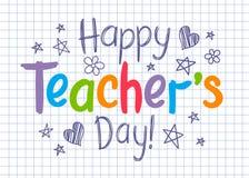 Счастливая поздравительная открытка дня учителей на приданном квадратную форму листе тетради с прописями в схематичном стиле иллюстрация вектора