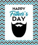 Счастливая поздравительная открытка дня ` s отца с бородой Стоковое Изображение RF