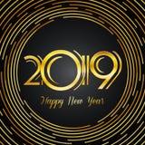 Счастливая поздравительная открытка 2019 - золотые номера Нового Года на темном Backg иллюстрация штока