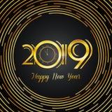 Счастливая поздравительная открытка 2019 - золотые номера Нового Года на темном Backg Стоковое Фото
