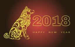 Счастливая поздравительная открытка Нового Года 2018 Год собаки китайское Новый Год с рукой нарисованные doodles также вектор илл Стоковое Изображение