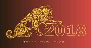 Счастливая поздравительная открытка Нового Года 2018 Год собаки китайское Новый Год с рукой нарисованные doodles также вектор илл Стоковое Фото