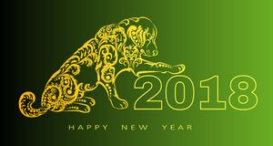 Счастливая поздравительная открытка Нового Года 2018 Год собаки китайское Новый Год с рукой нарисованные doodles также вектор илл Стоковая Фотография