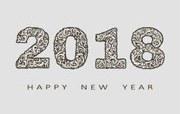 Счастливая поздравительная открытка Нового Года 2018 с нарисованными вручную doodles для знамен, плакаты, рогульки абстрактная пр Стоковое фото RF