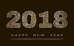Счастливая поздравительная открытка Нового Года 2018 с нарисованными вручную doodles для знамен, плакаты, рогульки абстрактная пр иллюстрация штока