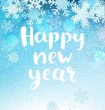 Счастливая поздравительная открытка Нового Года с снежинками Стоковые Фото