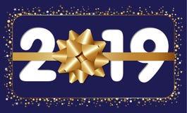 2019 счастливая поздравительная открытка Нового Года иллюстрация вектора