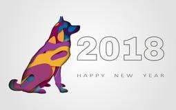 Счастливая поздравительная открытка Нового Года 2018 иллюстрация штока