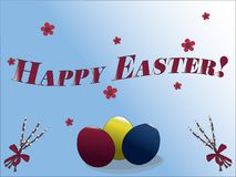 Счастливая поздравительная открытка пасхи с покрашенными пасхальными яйцами, цветками, и хворостинами вербы бесплатная иллюстрация