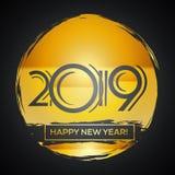 Счастливая поздравительная открытка 2019 - темные номера Нового Года в золотой щетке иллюстрация штока