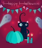 Счастливая поздравительная открытка хеллоуина милая бесплатная иллюстрация