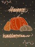 Счастливая поздравительная открытка хеллоуина с тыквами иллюстрация штока