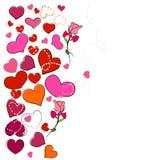 Счастливая поздравительная открытка ` s валентинки с розами и сердцами смертной казни через повешение романтичная предпосылка Стоковое фото RF