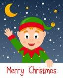 Счастливая поздравительная открытка рождества эльфа Стоковое Изображение