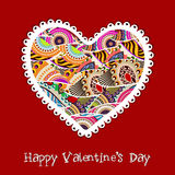 Счастливая поздравительная открытка дня Валентайн, карточка подарка или предпосылка. EPS Стоковое Изображение