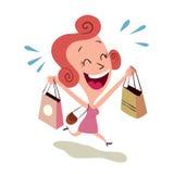 Счастливая покупка женщины Стоковое Фото