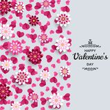 Счастливая предпосылка дня Валентайн Хороший шаблон дизайна для знамени, поздравительной открытки, рогульки Бумажные цветки и сер бесплатная иллюстрация