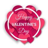 Счастливая предпосылка дня валентинок с розовыми сердцами и круглым fr Стоковые Фото