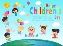 Счастливая предпосылка дня детей, группа в составе дети скача на глобус, плакат дня детей со счастливой иллюстрацией вектора дете бесплатная иллюстрация