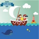 Счастливая предпосылка дня детей Иллюстрация вектора всеобщего плаката дня детей r r Круглая рамка - Вектор иллюстрация штока