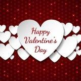Счастливая предпосылка дня ` s валентинки с сердцами для карточек и приветствий Стоковые Фотографии RF
