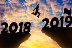 Счастливая предпосылка захода солнца силуэта Нового Года стоковая фотография rf