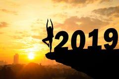 Счастливая предпосылка захода солнца силуэта Нового Года стоковое фото rf