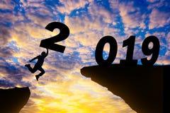 Счастливая предпосылка захода солнца силуэта Нового Года стоковые фотографии rf
