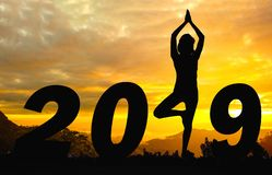 Счастливая предпосылка захода солнца силуэта Нового Года стоковое изображение rf
