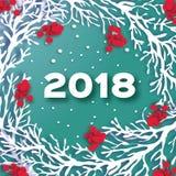 Счастливая предпосылка Нового Года 2018 Бумага отрезала венок с ветвью рябины и красной ягодой Снежинки зимы круг 3D Origami иллюстрация вектора