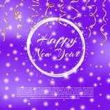 Счастливая предпосылка 2018 Нового Года с влиянием bokeh Предпосылка элегантного рождества голубая с снежинками и sparkles вектор Стоковая Фотография RF
