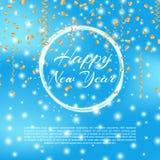 Счастливая предпосылка 2018 Нового Года с влиянием bokeh Предпосылка элегантного рождества голубая с снежинками и sparkles вектор Стоковые Фотографии RF