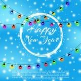 Счастливая предпосылка 2018 Нового Года с влиянием bokeh Предпосылка элегантного рождества голубая с снежинками, sparkles и Стоковое Фото