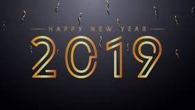 Счастливая предпосылка Нового Года 2019 с золотыми текстом и Confetti Золото и черные цвета иллюстрация штока