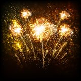 Счастливая предпосылка Нового Года с золотым светом бесплатная иллюстрация