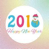 Счастливая предпосылка 2018 Нового Года с снеговиком и снегом, иллюстрацией вектора Стоковое Фото